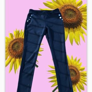 Shosho black polyester pull on thick skinny pants